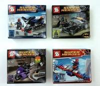 4PCS Super Hero Building Blocks Sets SY201 Spiderman Batman Nick Fury Catwoman Action Figure  Avengers classic toys T65