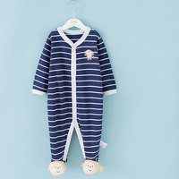 2014 New autumn spring fashion baby clothing 100% cotton newborn striped monkey jumpsuit bebe clothes