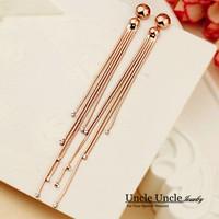 Rose Gold Plated Rhinestones Classic Tassels 12cm Long Lady Drop Earrings Wholesale