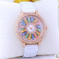 Hot Sales Luxury Women Watches Colorful Camellias Fashion Women Dress Watch, Large Dial Ceramic Watches Lady Quartz Wristwatches