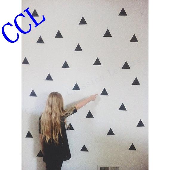 Free shipping 45 Triangles modern wall art decor home decoration , High quality vinyl wall art sticker decal ,F2073(China (Mainland))