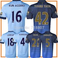 MAN-CITY 14/15 Jerseys 18 LAMPARD Home Blue 2015 City Away Soccer Jerseys KUN AGUERO TOURE YAYA KOMPANY Best Thai Player Version