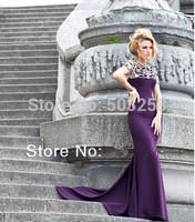 DED34 2014 High Neck Mermaid Custom Made Beaded Evening Dress Fashion Prom Style