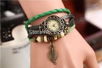 2014 New Hot Retro Butterfly Leaf Fashion leather Bracelet Water Quartz Hand Clock Women Wrist Watches Wristwatch 50pcs/lot