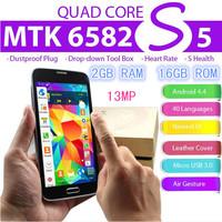 "Free Shipping Best 1:1 S5 I9600 Phone MTK6582 Quad Core Heart Rate Fingerprint Android 4.4 5.1"" 2GB Ram 32G ROM 13MP G900F Phone"
