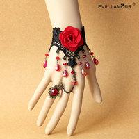 Min.order $15 Gothic Wriststrap Bracelet Ring Vintage Rose Lace Bracelet Deluxe Chrystal Bracelet Fashion Party Jewelry WS-321