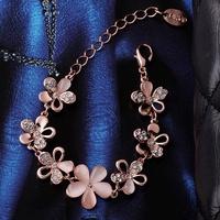 VGBC176 Brand Name Luxury Jewelry Opal Flower Bracelet Top Quality 18K Rose Gold Plated Bracelets for women wholesale