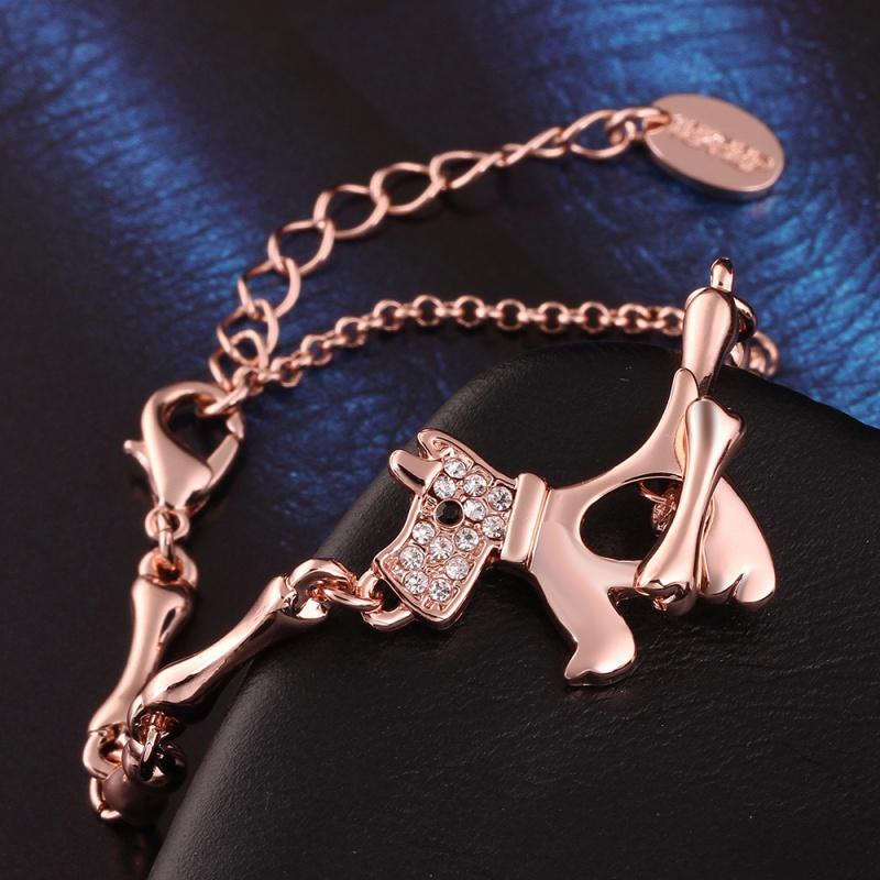 VGBA195 Brand Name Puppy Dog Bracelet Top Quality 18K Rose Gold Plated Bracelet Pulseiras for women wholesale(China (Mainland))