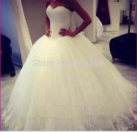 DED45 2014 Elegant Custom Made Floor Length Tulle Lace Ball Gown Bridal Wedding Dresses Plus Size