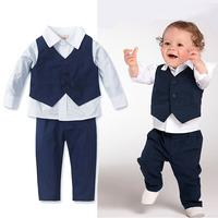 Fashion formal dress children vest autumn baby white shirt three pieces set child set