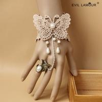 Min.order$15 Fresh Ivory Lace Wriststrap Bracelet Vintage Butterfly Chain Bracelet Ring Fashion Party Jewelry Best Gift WS-312