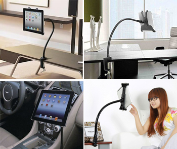 Gooseneck 360º Table Desk Wall Mount Stand Holder For iPad 2 Mini Tablet PC K0E1(China (Mainland))
