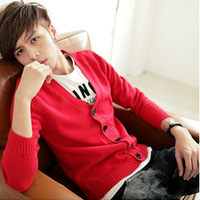 2014 autumn fashion cardigan V-neck male cotton outerwear slim sweater