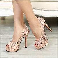 Luxury comfortable summer female sandals high heel open toe platform thin heels laser powder l lace