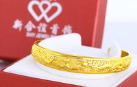 Fine Jewellery 24k Yellow Gold Filled Phoenix  Hammered Cuff Bangle