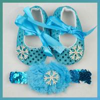 Retail baby Girls Frozen First Walkers with headwear/Snow Queen Elsa Toddler Soft Sole/ Baby princess Snowflake prewalker