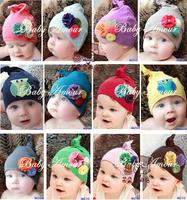 Kids cap handmade knitted flower hat infant knit hat babyamour