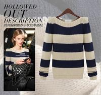 2014 new winter striped waistcoat  women's round neck long-sleeved sweater