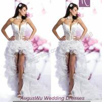 AWL30349 Sexy Short Front Long Back V-neck Spaghetti Strap Organza Lace Wedding Bridal Dress 2014 Custom Size Custom Color