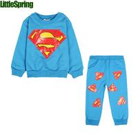 LittleSpring Retail hero superman unisex baby's sets children spring autumn baby girls boys fashion sets long sleeve sets