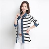 Hitz Korean Girls long paragraph stitching denim shirt collar shirt striped knit cardigan
