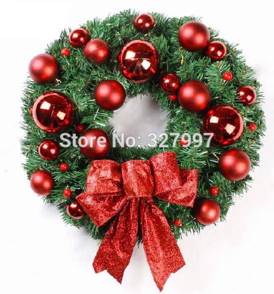 40cm Artificial Christmas red balls bows pine needle garland festival hotel supplies door hanger decorative garlands CW08013(China (Mainland))