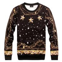 2014 A/W high quality fashion gold chain personalized  mens o-neck sweatshirt