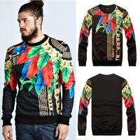 High quality 2014 A/W ruslana korshunova Camouflage chains leaves fashion o-neck sweatshirt