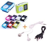 Mini Clip MP3 Music Player +USB Connector+Earphone+Tracking number LCD Screen Support  TF Card Slot - New