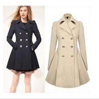 2014 new Women's medium-long OL outfit slim wool trench coat outerwear