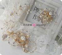 Big fashion aesthetic bride gold handmade beaded rhinestone comb hair accessory hair bands