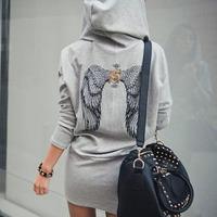 New Women Sport suit Jacket Back wings print hooded Sweatshirts Casual Moletons Feminino Hoody Coat Warm Outerwear WW0018