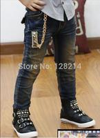 Free Shipping Children Boys Jeans 2014 Autumn New Fashion Chain Korean Boys Casual Jeans Pants