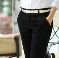 Women Pants 2015 New Spring Plus Size Elegant OL office Black Pant Cotton Casual Pants Slim Formal Pants Straight Trousers 6XL