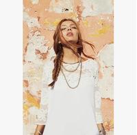 2014 summer women gauze lace embroidery stitching loose cardigan back retro pendants engrave Tops shirt clothing