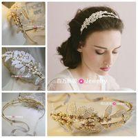 Free Shipping! T & h aesthetic series handmade freshwater pearl gold headband wedding jewelry hot sale design