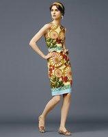 new fashion 2014 high-end European and American big women summer print dress vest wheel dresses clothing retro