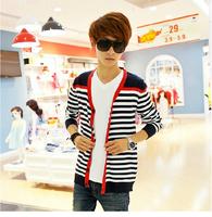 Hot ! 2014 New Winter Men's Fashion V-neck Striped Cardigan Sweater Korean Yards Men's Sweaters , Free Shipping