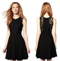Fashion autumn winter 2014 Small fragrant lace dress female Hepburn sweet temperament elegant black dress