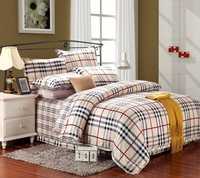 Egyptian cotton luxury plaid bedding comforter set king queen size duvet cover bedspread bed in a bag sheet bedroom quilt linen