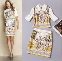 2014 autumn new fashion floral lapel jacket + package hip skirt suit shirt top short sleeve clothing set print women