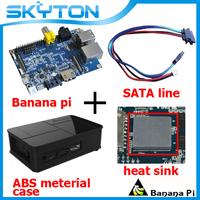 Original Banana Pi + Sata Line Cable 100% Copper Wire + Ceramic heat sink + Black Fashion ABS Material Case Box  Free shipping