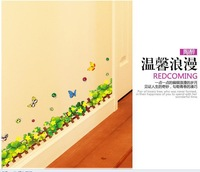 Fashion Waterproof Eco-friendly Sticker DIY Removable Grass Waistline Baseboard wall sticker Home Decor For Kids Rooms