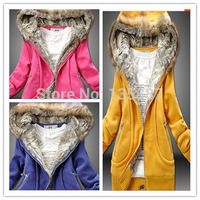 2014 WOMEN JACKETS arrival  autumn and winter thickening thermal winterisation solid  cotton sweatshirt  fur collar outerwear