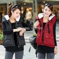 Free Shipp Fur Vest Hooded Down Vest Coat Multi-color Sleeveless Cotton Waistcoat Jacket Women 90% White Duck Down Jacket#013872