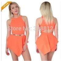 Free shipping Sexy nightclub back waist hollow solid female dress