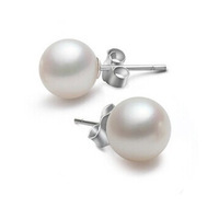 Genuine Cultured Freshwater 9-10mm White Pearl Stud Ear Sterling Silver FREE SHIPPING