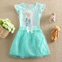 New 2014 Girl Clothes Frozen Dress Elsa Anna princess baby Girls dress New Style frozen Fashion girl lace Dress Children Cloting