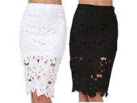White/Black skirts womens Hook floral Crochet Pencil Skirt saias femininas 2014 fall fashion for women Formal Office work wear