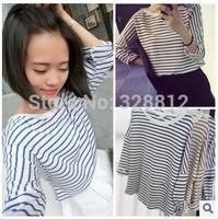 Free shipping 2014 all-match stripe T-shirt long sleeve T-shirt based bat